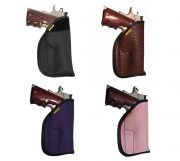 OWB carry only shown in black denier, alligator embossed leather, purple denier, and pink denier.